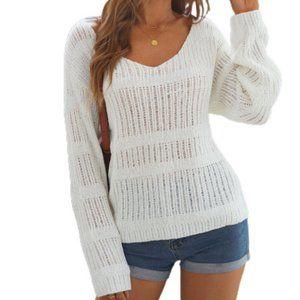 Long Sleeve V-Neck Open Knit Pullover Sweater white